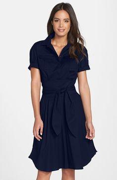 Cynthia Steffe 'Maya' Tie Waist Fit & Flare Shirtdress #navy #dress #fashion