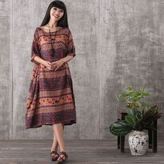 Women summer retro style short sleeve loose pullover printing cotton linen dress with pockets