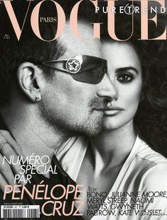 Bono and Penelope Cruz, Vogue, Paris, May 2010 #u2newsactualite #u2newsactualitepinterest #bono #theedge #larrymullen #adamclayton #u2 #music #rock #vogue #penelopecruz