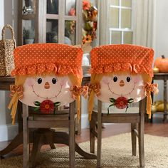 Scarecrow Boy Chair Covers, Set of 2 Thanksgiving Crafts, Fall Crafts, Diy And Crafts, Fall Halloween, Halloween Crafts, Halloween Decorations, Chevron Bow, Harvest Decorations, Autumn Theme