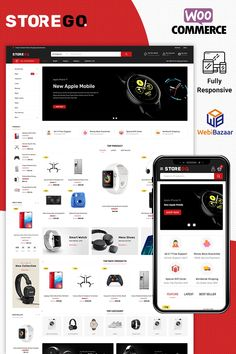 StoreGo Electronice WooCommerce Theme - Wordpress Themes and Plugins Slider Images, Seo Basics, Apple Mobile, Electronic Shop, Mobile Responsive, First Website, Custom Fonts, News Sites, Corporate Brochure