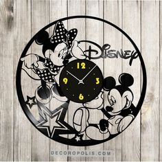 Mickey and Minnie mouse clock vinyl record