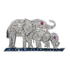 Diamond, Sapphire and Ruby Elephant brooch.
