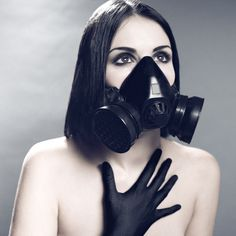 woman with gas mask