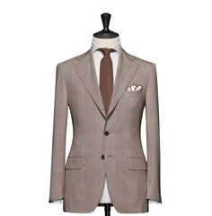 Tailored 2-Piece Suit – Fabric 4612 Glencheck Brown Cloth weight: 230g Composition: 100% Wool Super 120's