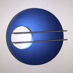 Lighted modern metal wall art sculpture - stainless steel metallic blue Modern Metal Wall Art, Metal Art, Metallic Blue, Circle Design, Modern Lighting, Art Images, Design Projects, Sculptures, Blue And White