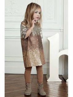 Chloe Kids girls gold sequin shift dress