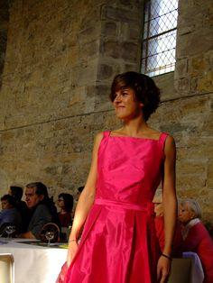 Robe Marianne dos nu soie sauvage fuschia