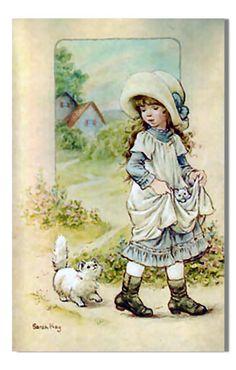 Niña con gato - Sarah Kay vintage