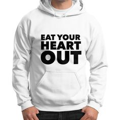 Black Eat Your Heart Out Gildan Hoodie (on man)