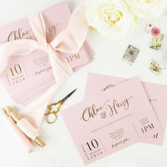 Blush and gold foil calligraphy wedding invitations | Atten by Becky Lord Design