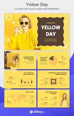 Enjoy the happiest day of the year with this yellow Google Slides theme and PowerPoint template for your presentation! It's editable and free! #Slidesgo #FreepikCompany #freepresentation #freetemplate #presentations #themes #templates #GoogleSlides #PowerPoint #GoogleSlidesThemes #PowerPointTemplate #YellowDay #Yellow #Cool #Funny #Picture Graphic Design Templates, Modern Graphic Design, Memories Photo Album, Smiling People, Smile Pictures, Slide Design, Memory Books, Presentation Templates, Yellow