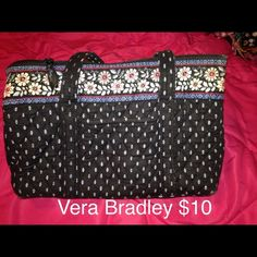 Selling this Vera Bradley black tote in my Poshmark closet! My username is: xansgirl. #shopmycloset #poshmark #fashion #shopping #style #forsale #Vera Bradley #Handbags