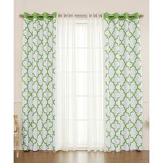 Best Home Fashion Green Lattice & Sheer 4-Pc. Blackout Curtain Panel... ($70) ❤ liked on Polyvore featuring home, home decor, window treatments, curtains, sheer curtain panels, window curtain panels, green window curtains, grommet window panels and green sheer curtain panels