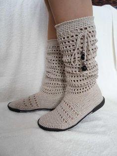 Knitting Slippers For Beginners Crochet Socks Trendy Ideas Crochet Boots Pattern, Crochet Boot Socks, Crochet Slipper Boots, Shoe Pattern, Crochet Slippers, Knitting Socks, Cotton Crochet, Diy Crochet, Sock Shoes