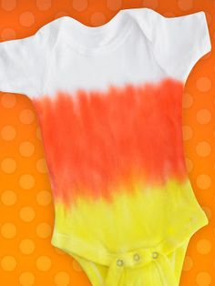 Make a Candy Corn Tie Dye Onesie! So easy with Fiber Reactive Dyes!