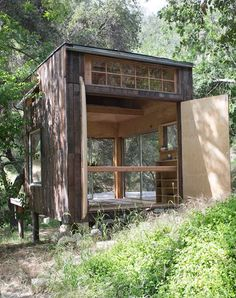 Topanga Cabin by Mason St. Very simple (unplumbed etc.) cabin, with some neat design-y bits. Tiny Cabins, Tiny House Cabin, How To Build A Log Cabin, Topanga Canyon, Affordable Housing, Cabins In The Woods, Little Houses, Tiny Houses, Bungalow