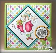 Art Impressions Rubber Stamps: Ai People: Cheers to You set (Sku #4664):  handmade Christmas holiday card. Cheers...wine card.