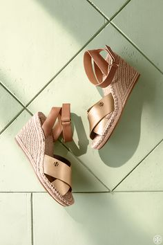 Tory Burch Bima Metallic Wedge Espadrille Sandal
