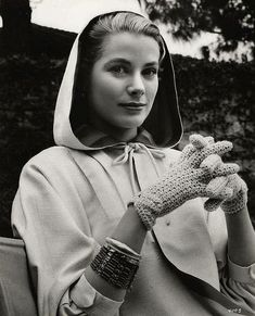 Grace Kelly on the set of Alfred Hitchcock's film, 'Rear Window', 1954.