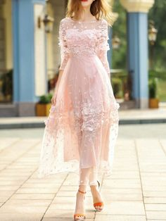 SheIn offers Pink Contrast C… Shop Pink Contrast Crochet Gauze Maxi Dress online. SheIn offers Pink Contrast Crochet Gauze Maxi Dress & more to fit your fashionable needs. Lovely Dresses, Elegant Dresses, Formal Dresses, Romantic Dresses, Dress Outfits, Fashion Dresses, Fashion 2018, Maxi Dresses, Short Outfits