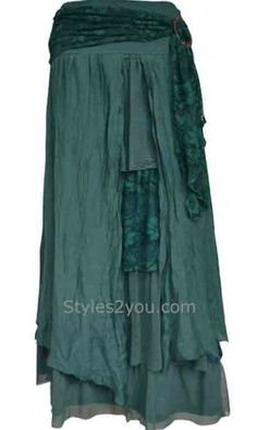 Pretty Angel Clothing Antique Belted Skirt In Turquoise