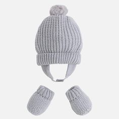 Baby boy set of beanie and mittens - Grey