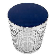 Jonathan Adler Nixon Blue/White End Table  #MidCenturyModernAccentSideTableNightstandRoundMetalBaseFrame