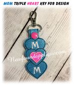 In The Hoop Mom Triple Heart Key Fob Embroidery Machine Design Applique Embroidery Designs, Machine Embroidery Applique, Free Design, Tag Design, Key Fobs, Machine Design, Hoop, Stitch, Things To Sell