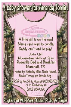 Invitation for a baby shower. I like this for boy or girl of course color would be changed if a boy