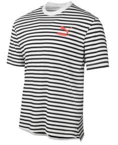 90a8e77b6f9 Puma Men s Summer Breton Striped T-Shirt - White XL Puma Outfit