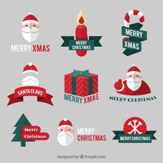Christmas santa claus badges Free Vector