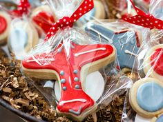 Red and Blue Airplane Themed Baby Shower.  Cookies nom nom nom!