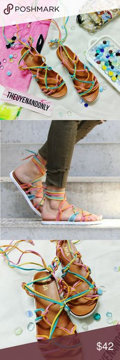 🚫SOLD🚫 MIA ELLA Athleisure Sandals Suede Straps The MIA Ella sandals feature multi-colored straps that wrap around the leg and a fashion-forward sneaker bottom that bring in the sporty element. Wear the MIA Ella sandals with your favorite summer dress.  •BRAND NEW •NO BOX •NO TRADE •WIDTH AND FITTING IS ADJUSTABLE USING STRAPS •TIE THE STRAPS HOWEVER COMFORTABLE TO YOU  ***SANDALS ONLY. ACCESSORIES ARE NOT INCLUDED.  Price is firm during sale MIA Shoes Sandals