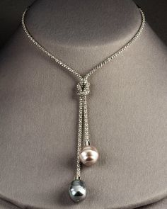 lariat necklace (you can mix and match the two beads but keep the same necklace chain; add charms to the middle above dangling beads to make effect: eg, put rain cloud dangling above two briolettes for raindrops)