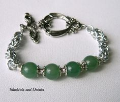 Aventurine and Chainmaille Bracelet - The Supermums Craft Fair