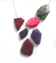 Purple statement necklace, genuine gemstone necklace, sterling silver, labradorite bib necklace, jewel toned necklace, pink purple necklace by BlueEyedSquirrel on Etsy