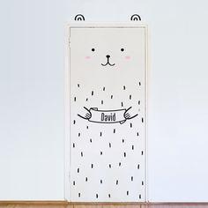 Haru der Custom tragen Tür-Aufkleber / Wand Aufkleber für Türen, Fenstern oder Schränke / Kinderzimmer Dekor / Bear Vinyl Aufkleber