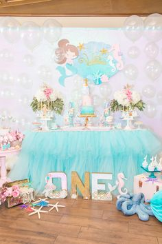 Prepare everything well and you will be proud of your masterpiece mermaid birthday party. These mermaid birthday party ideas down below will help you to Little Mermaid Birthday, 1st Birthday Girls, First Birthday Parties, First Birthdays, Birthday Ideas, Mermaid Party Decorations, Mermaid Parties, Birthday Party Decorations, Mermaid Under The Sea