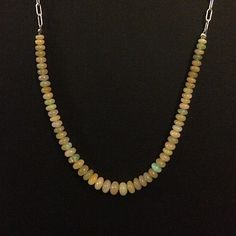 Opals & Sterling Silver Elongated Box Chain Necklace