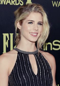 Emily Bett Rickards at  the Hollywood Foreign Press Association & InStyle Celebration of the 2016 Golden Globe Award season (11.17.2015)