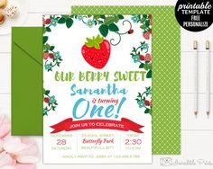 Sweet Berry Birthday Invitation template. Printable First birthday invitation. Strawberry birthday invitation. Girl First birthday invite by HandmadeIncredible on Etsy