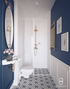 White and dark blue bathroom design. Blue Small Bathrooms, Blue Bathrooms Designs, Upstairs Bathrooms, Navy Bathroom Decor, Bathroom Accent Wall, Blue Bathroom Tiles, Bathroom Ideas, Modern Bathroom, Small Toilet Room