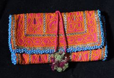 Collectible Ethnic Pashtun Afghan Silk Embroidery Purse Wallet Pouch T 594 by on Etsy Embroidery Purse, Blue Beads, Purse Wallet, Hand Stitching, Printed Cotton, Needlework, Ethnic, Textiles, Central Asia