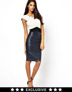 Hybrid Dress With Contrast PU Skirt