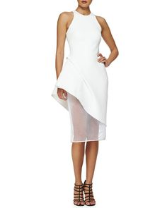 Cushnie et Ochs Asymmetric Peplum Netted Skirt Dress - 2015