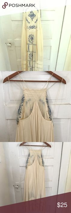 Free people meadow frolicking dress Gorgeous white with blue embroidery dress for summer play days Free People Dresses Backless