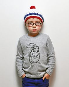 Squirrel L/S Toddler Tee Grey by KLTworks on Etsy