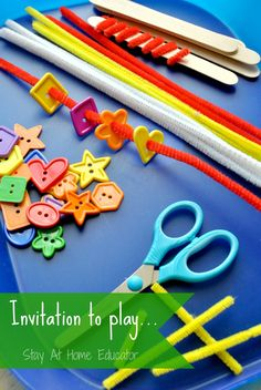 Invitation to play with craft sticks, pipe cleaner, and buttons - Stay At Home Educator