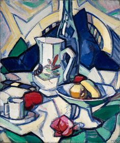 Still Life- Samuel Peploe. This painting is of a jug, a dish with fruit in it and a mug. The backdrop of the painting is very eye catching as it is so patterned. Bright and bold colours are used- making a happy atmosphere. The angular lines give the painting an Art Deco look. Not a lot of tone is used around the fruits so this makes them look slightly flat. There is tone used on other objects such as wine bottle. The objects look more cartoon than realistic because of the sharp, angular…